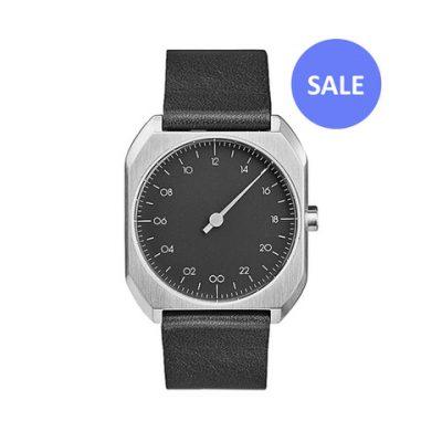 slow Mo 06 - Single Hand wrist watch - Silver octagon case, Black leather strap SALE